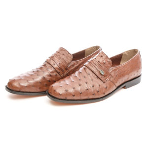 Ostrich Leather Mens Shoe Slip-On