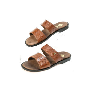 Ostrich Leather Mens Sandals Double Strap