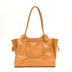 Ostrich Leather Bag Amber