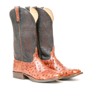 Ostrich Leather Western Boot: Men