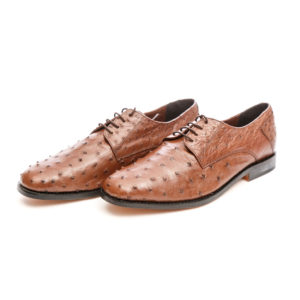 Ostrich Leather Mens Shoe Lace Up