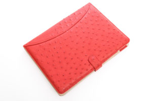 Flame Red - Ostrich Leather A4 Folder