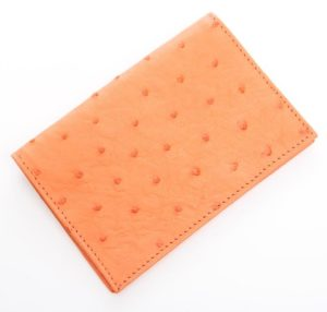 Tangerine - Ostrich Leather Passport Cover