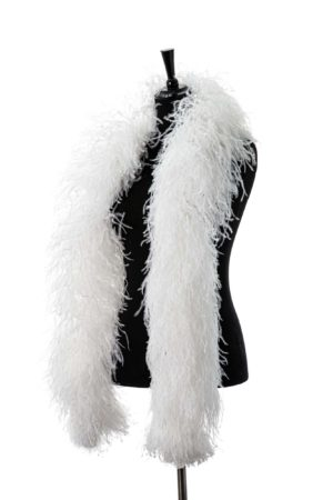 White - Ostrich Feather Boa 8ply