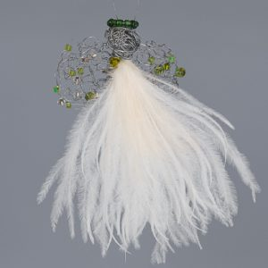 Ostrich Feather Angel Stella Draai Baby-Cream & Green Beads