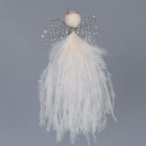 Ostrich Feather Angel Valenta-Cream & Soft Pink Mix Beads