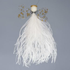 Ostrich Feather Angel Vanessa-White With Double Heart Wing