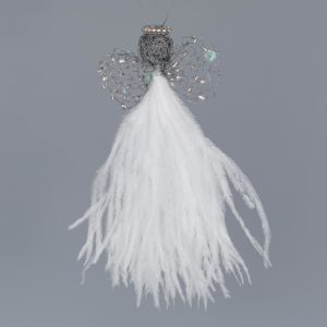 Ostrich Feather Angel Levona-White & Crystal