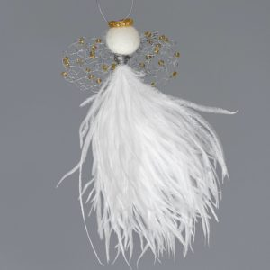 Ostrich Feather Angel Elizna-White With Gold Knit Wing