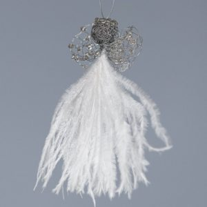Ostrich Feather Angel Levona Baby-White & Silver