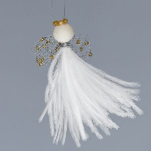 Ostrich Feather Angel Elizna Baby-White With Gold Knit Wing