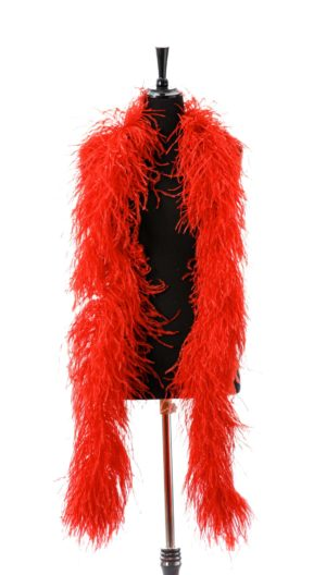 Bright Red - Ostrich Feather Ruche