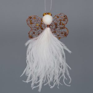 Ostrich Feather Angel Edwinah-Cream & Copper/Gold